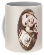 1950s Pinup Girl Talking On Retro Phone Coffee Mug