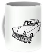 1956 Ford Custom Line Antique Car Illustration Coffee Mug