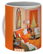 1960 70 Stylish Living Room Advertisement Orange And Stripes Groovy Baby Coffee Mug