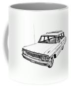 1964 Ford Galaxy Country Stationwagon Illustration Coffee Mug