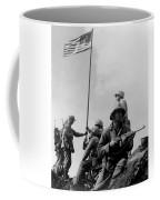 1st Flag Raising On Iwo Jima  Coffee Mug by War Is Hell Store