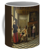 A Woman Drinking With Two Men Coffee Mug