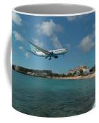 Air Caraibes Landing At St. Maarten Coffee Mug