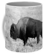 American Bison Buffalo Bull Feeding On Dry Fall Grass Coffee Mug