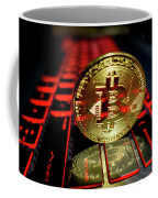 Bitcoin Coin L On Laptop Keyboard Coffee Mug
