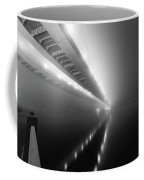 Cable-stayed Bridge Over River In Fog Coffee Mug
