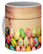 Colorful Hand Painted Easter Eggs On Wood Coffee Mug