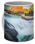 Falls And The Washington Water Power Building Along The Spokane  Coffee Mug