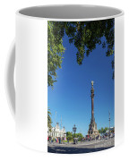 Famous Columbus Monument Landmark In Central Barcelona Spain Coffee Mug