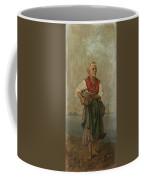 Fish Seller With The Vesuvio In The Background Coffee Mug