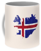 Iceland Map Art With Flag Design Coffee Mug