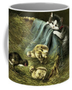 Kitten Peeking In On Chicks Coffee Mug