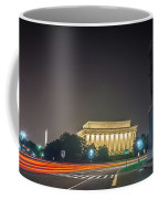 Lincoln Memorial Monument With Car Trails At Night Coffee Mug