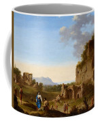 Roman Landscape With Ruins And Travellers Coffee Mug