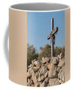 Rosary Hanging On A Small Wooden Cross On A Stone Wall Coffee Mug