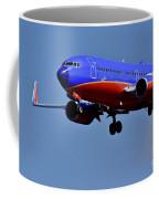 Southwest Airlines Airplane In Flight Coffee Mug