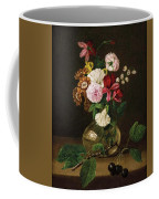 Still Life With Flowers In A Glass Vase And Cherry Twig Coffee Mug