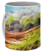 Structure Of Wooden Log Covered With Moss On The Riverside, Closeup Painting Detail. Coffee Mug