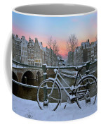 Sunset In Snowy Amsterdam In The Netherlands In Winter Coffee Mug