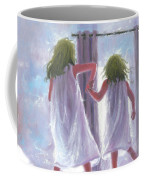 Two Sisters Jumping On The Bed  Coffee Mug