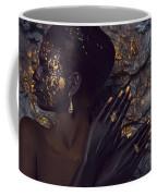 Woman In Splattered Golden Facial Paint Coffee Mug