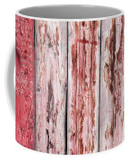 Wood Background With Faded Red Paint Coffee Mug