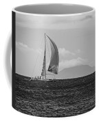 2017 Heineken Regatta Sailing Past Saba Saint Martin Sint Maarten Red Sail Black And White Coffee Mug
