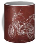 2018 Yamaha Mt-07 Blueprint - Red Background Coffee Mug