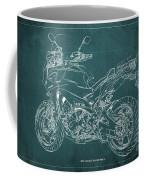 2018 Yamaha Tracer 900gt Blueprint Green Background Coffee Mug