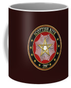 28th Degree - Knight Commander Of The Temple Jewel On Black Leather Coffee Mug