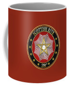 28th Degree - Knight Commander Of The Temple Jewel On Red Leather Coffee Mug