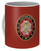 29th Degree - Scottish Knight Of Saint Andrew Jewel On Red Leather Coffee Mug