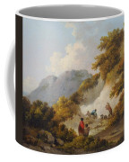 A Mother And Child Watching Workman In A Quarry Coffee Mug