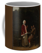 A Woman And Two Men In An Arbor Coffee Mug