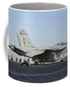 An Fa-18f Super Hornet Ready To Launch Coffee Mug