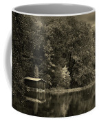Autumn Lake Boathouse Coffee Mug