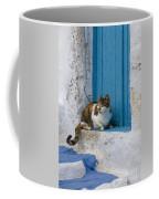 Cat In A Doorway, Greece Coffee Mug