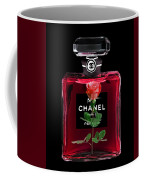 Chanel Perfume With Red Roses Coffee Mug