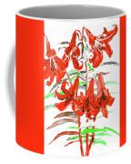 Red Lilies, Hand Drawn Painting Coffee Mug