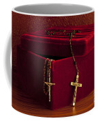 Red Velvet Box With Cross And Rosary Coffee Mug