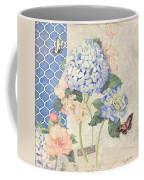 Summer Memories - Blue Hydrangea N Butterflies Coffee Mug