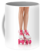 Young Woman Wearing Roller Derby Skates Coffee Mug