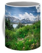 The White Pass And Yukon Route On Train Passing Through Vast Lan Coffee Mug