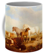 Willis Henry Brittan Horses And Cattle On The Shore Henry Brittan Willis Coffee Mug