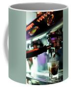 Making Espresso Coffee Close Up Detail With Modern Machine Coffee Mug