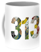 313 Area Code Detroit Michigan Recycled Vintage License Plate Art On White Background Coffee Mug