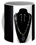 3545 Black Cracked Agate Necklace And Earring Set Coffee Mug