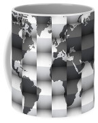 3d Black And White World Map Composition Coffee Mug