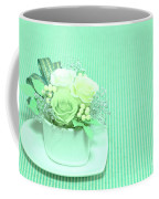A Gift Of Preservrd Flower And Clay Flower Arrangement, White An Coffee Mug