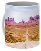 descending into Monument Valley at Utah  Arizona border  Coffee Mug